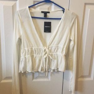 Ivory Forever 21 Cropped Long sleeve
